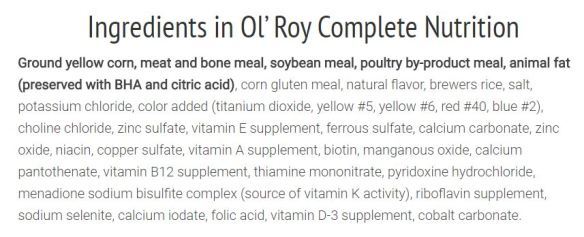 Ol Roy Ingredients